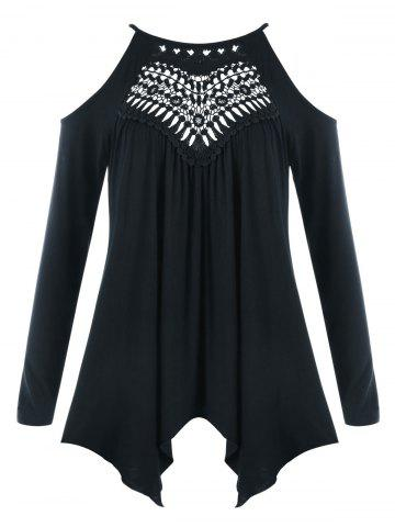 Plus Size Openwork Cold Shoulder Tee - Black - 5xl