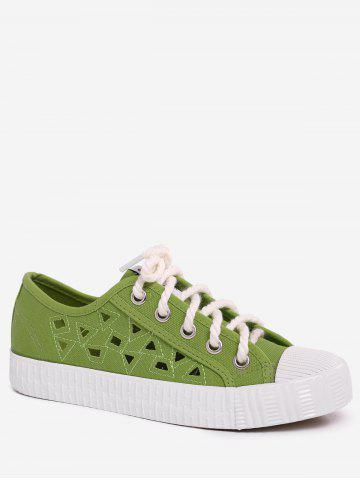 Fancy Hollow Out Canvas Athletic Shoes GREEN 39