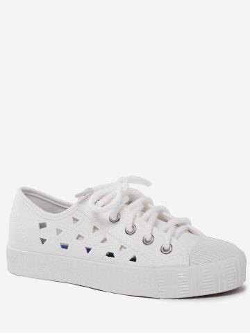 Shop Hollow Out Canvas Athletic Shoes - 38 WHITE Mobile