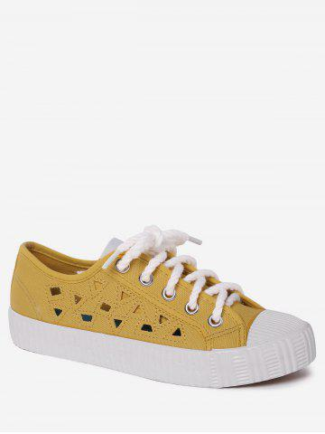 Online Hollow Out Canvas Athletic Shoes - 40 YELLOW Mobile