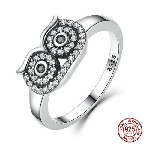 Sale Rhinestoned Sterling Silver Owl Ring - 6 SILVER Mobile