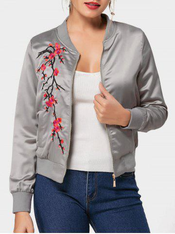 Sale Floral Embroidered Bomber Jacket GRAY 2XL