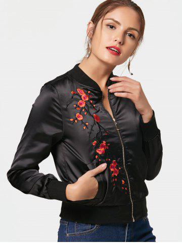 Chic Floral Embroidered Bomber Jacket BLACK 2XL