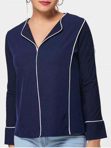 V Neck Long Sleeve Blouse - Deep Blue - One Size