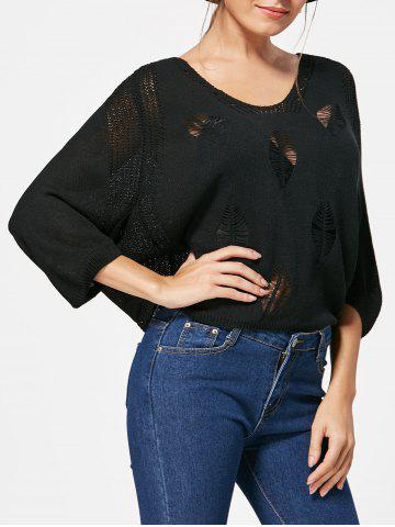 Batwing Sleeve Jumper Ripped Sweater - Black - One Size