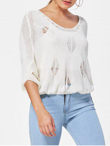 Batwing Sleeve Jumper Ripped Sweater - White - One Size
