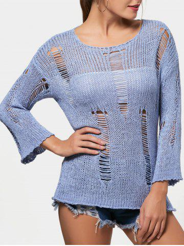 Tunic Ripped Sweater - Windsor Blue - One Size