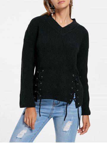 V Neck Side Lace Up Sweater - Black - One Size