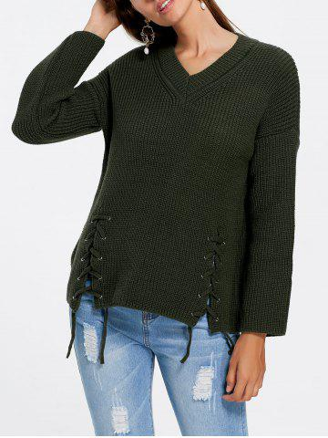 V Neck Side Lace Up Sweater - Army Green - One Size