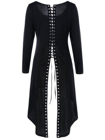 Tunic High Slit Long Sleeve Lace-up Top - Black - 2xl