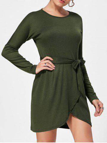 Long Sleeves Belted Casual Dress - Green - Xl