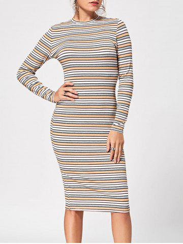 Striped Ribbed Long Sleeve Dress - Stripe - 2xl