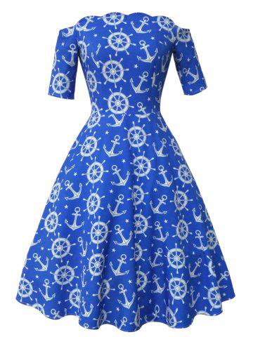 Anchor and Helm Print Vintage Dress - Blue - 2xl