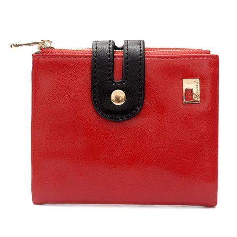 Best Faux Leather Color Block Bifold Wallets - RED  Mobile