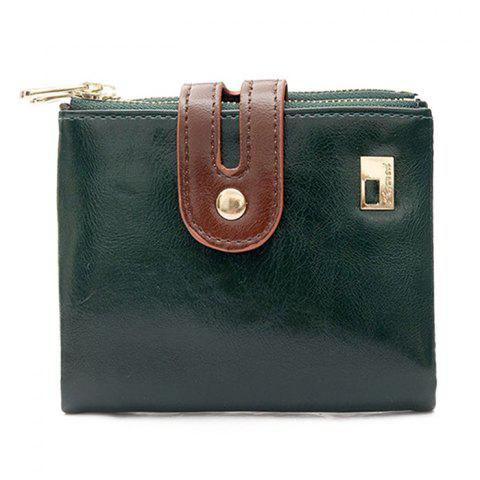 Faux Leather Color Block Bifold Wallets - Green - W59 Inch * L59 Inch