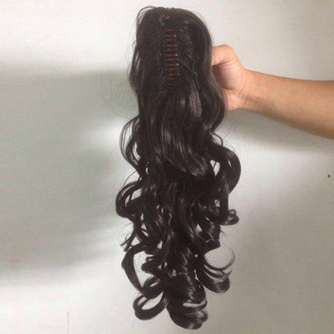 Long Curly Ponytail Synthetic Wig - Black