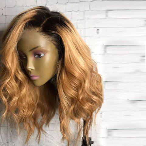Long Side Parting Shaggy Wavy Synthetic Wig - Black And Golden
