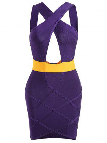 Trendy Club Cut Out Bandage Tight Dress - S PURPLE Mobile