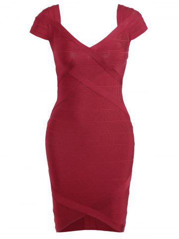 Outfits Night Out V Neck Bandage Dress - M RED Mobile