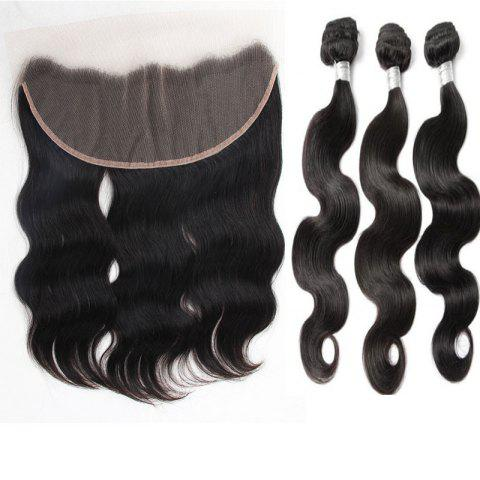 Chic 3Pcs/Lot 5A Remy Free Part Long Body Wave Indian Human Hair Weaves - 16INCH*18INCH*20INCH NATURAL BLACK Mobile