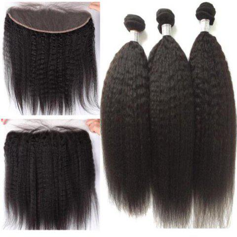 New 3Pcs/Lot 5A Remy Long Free Part Kinky Straight Indian Human Hair Weaves NATURAL BLACK 16INCH*18INCH*20INCH