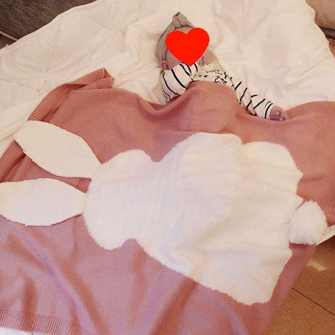 Chic Acrylic Knitted Rabbit Baby Blanket - LIGHT PINK  Mobile