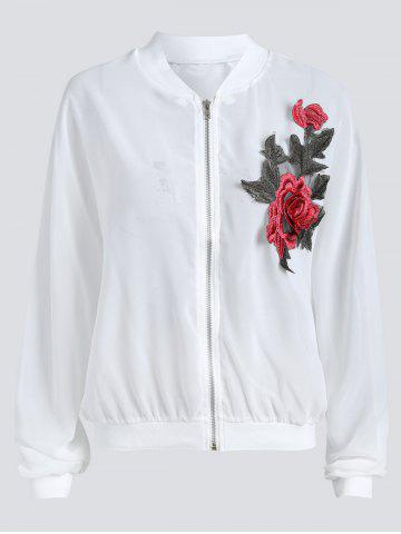 Trendy Sun Protect  Embroidered Plus Size Bomber Jacket WHITE XL