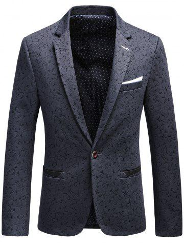Faux Chest Pocket Scattered Pattern Blazer - Deep Gray - Xl