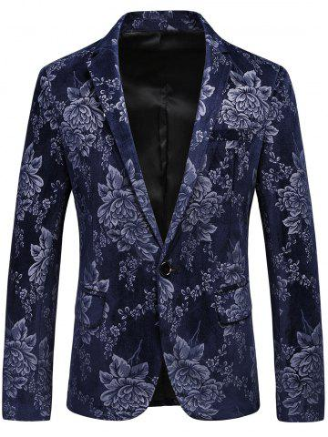 Hot One Button Lapel Floral Velveteen Blazer - 3XL BLUE Mobile