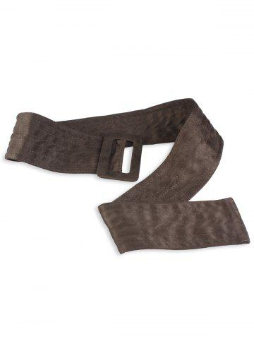 Affordable Wide Faux Suede Rectangle Buckle Waist Belt OLIVE GREEN