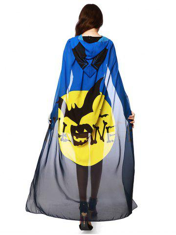 Halloween Witch Element Hooded Chiffon Cape - Blue And Yellow - 2xl