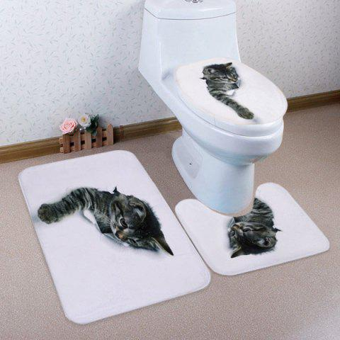Broken Paper Cat 3D Pattern Ensemble de toilette 3 pcs Mat de bain Blanc