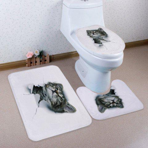 Outfits 3D Broken Paper Pussy Pattern 3 Pcs Bath Mat Toilet Mat WHITE