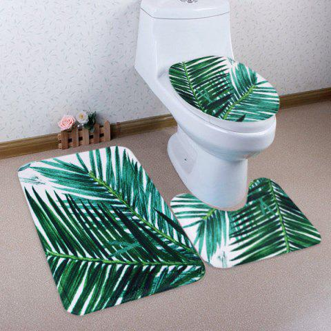 Trendy 3PCS/Set Palm Leaf Toilet Lid Cover and Floor Rugs