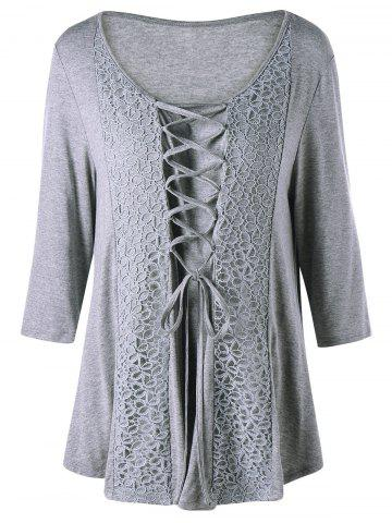 Plus Size Criss Cross Lace Panel Top - Gray - 5xl