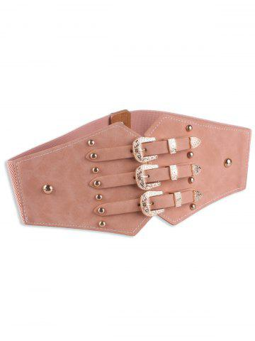 Online Retro Metal Buckles Rivet Wide Corset Belt PINK
