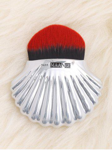 Plated Shell Shape Fiber Hair Foundation Brush - Red With Black - Eu Plug