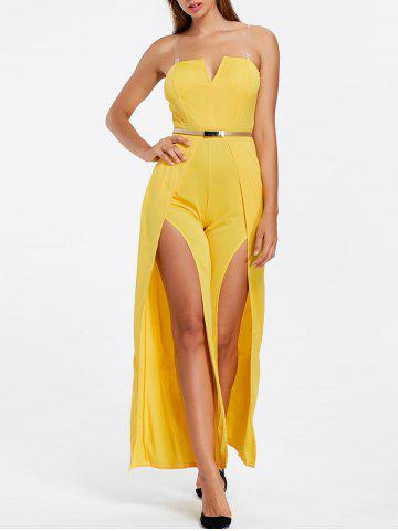 Discount High Slit Strapless Maxi Jumpsuit YELLOW S