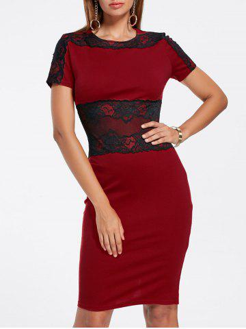 Affordable Lace Panel Pencil Sheath Dress WINE RED M