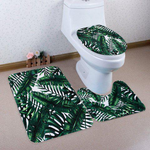 Cheap 3Pcs Greenery Leaves Bathroom Toilet Mats Set DEEP GREEN