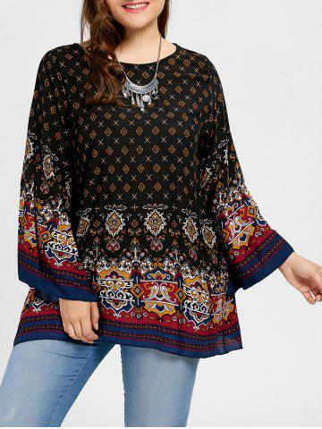 Affordable Plus Size Tribe Print Bell Sleeve Blouse - 2XL BLACK Mobile
