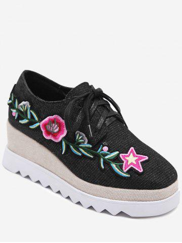New Embroidered Denim Wedge Shoes BLACK 37