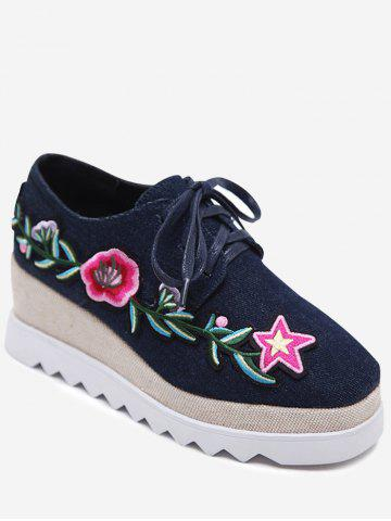 Embroidered Denim Wedge Shoes - Deep Blue - 38