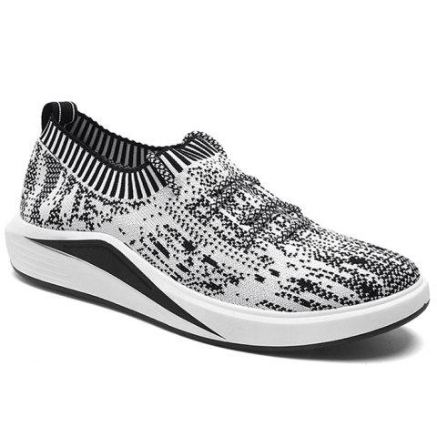 Cheap Flyknit Lace Up Casual Shoes - 42 GRAY Mobile