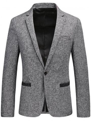 Lapel Collar One Button Tweed Blazer Gris 3XL