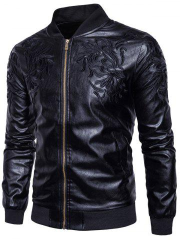 Embroidered PU Leather Zip Up Jacket - Black - S