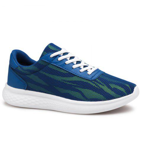 Color Block Mesh Tie Up Sneakers - Blue - 44