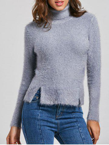 Knit Fuzzy Turtleneck Sweater - Gray - One Size