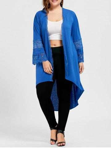 Taille élevée Hollow Out High Low Coat Bleu XL