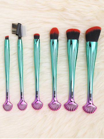 New 6Pcs Plated Shell Facial Makeup Brushes Kit - BLACK AND GREEN  Mobile